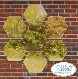 11¾in Set of 7 Small Hexagonal Gold Mirrors - by Reflect™