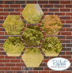 1ft 3¾in Set of 7 Hexagonal Gold Mirrors - by Reflect™