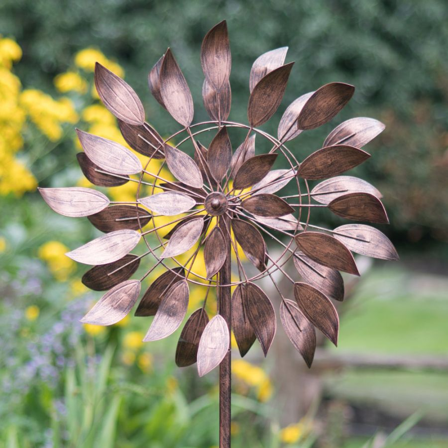 Brushed Copper Dancing Leaves Wind Spinner Dia 50cm by Creekwood™
