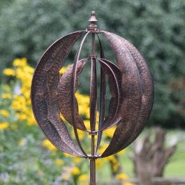 Brushed Copper Globe Wind Spinner Dia 56cm by Creekwood™
