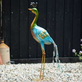 Blue Peacock Metal Garden Statue by Creekwood™