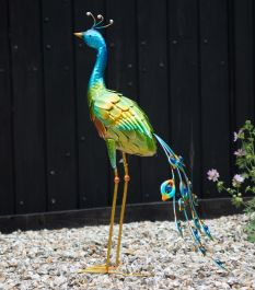 Green Peacock Metal Garden Statue by Creekwood™
