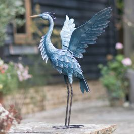Flying Heron Metal Garden Statue by Creekwood™