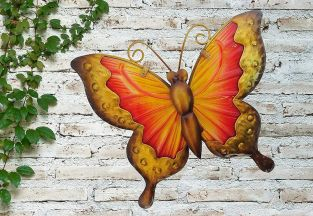 Yellow and Red Glass Butterfly Garden Wall Art by Creekwood™