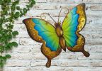 Yellow and Blue Glass Butterfly Garden Wall Art by Creekwood™