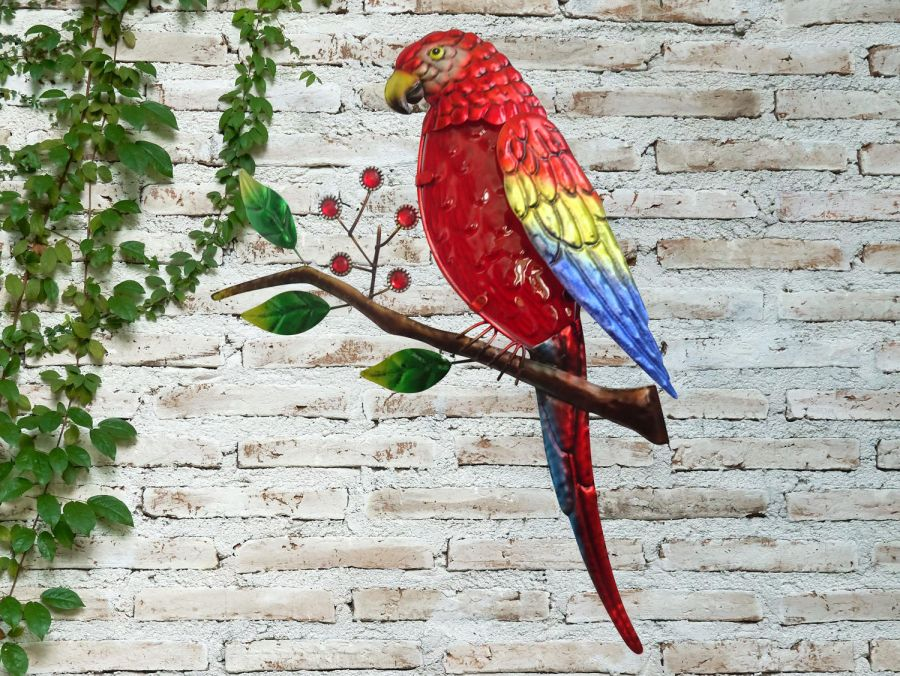 Glass Parrot Garden Wall Art by Creekwood™