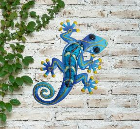 Small Blue Glass Gecko Garden Wall Art by Creekwood™