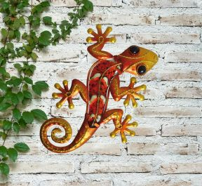 Small Orange Glass Gecko Garden Wall Art by Creekwood™