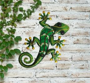 Small Green Glass Gecko Garden Wall Art by Creekwood™
