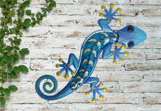 Medium Blue Glass Gecko Garden Wall Art by Creekwood™