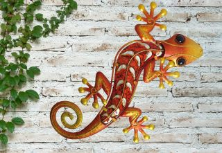 Medium Orange Glass Gecko Garden Wall Art by Creekwood™