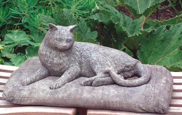 Pampered Cat Stone Statue