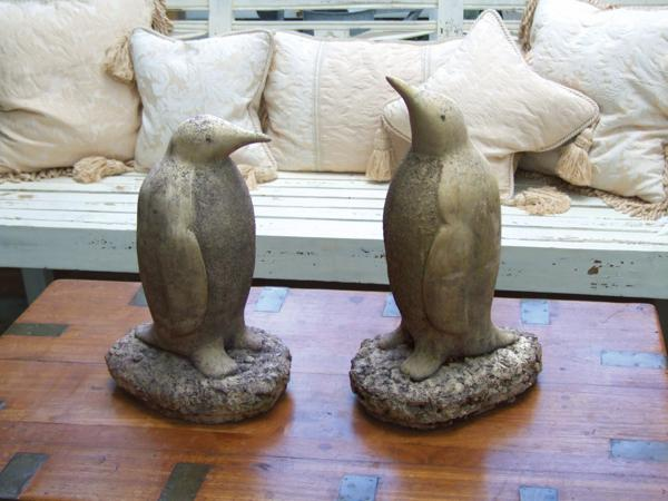 A Pair Of Penguin Stone Statues