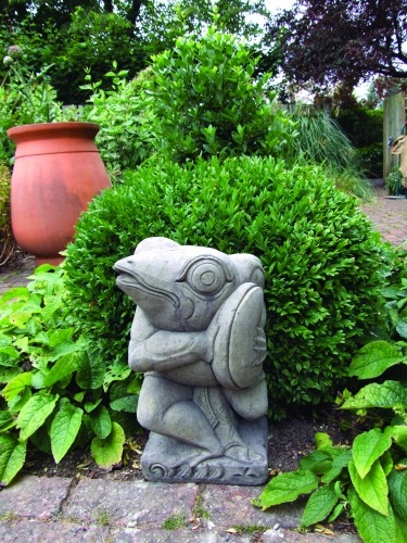 Frog with Cymbals Stone Statue