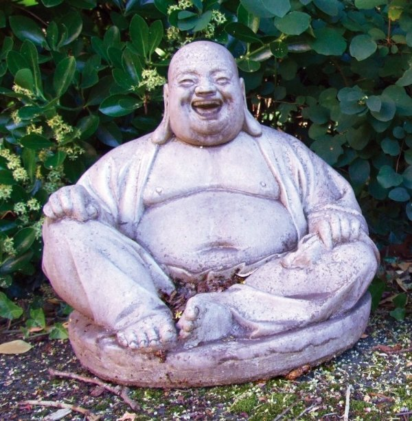 Large Laughing Buddha Stone Sculpture