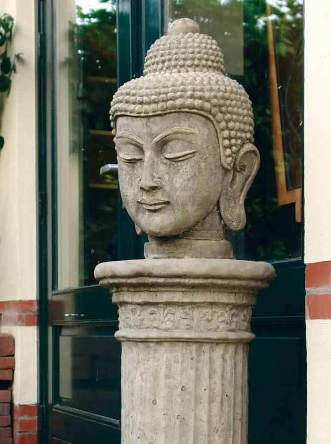 Buddha Head Stone Sculpture