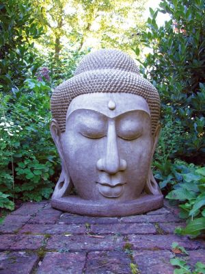 Grand Buddha Head Stone Scuplture