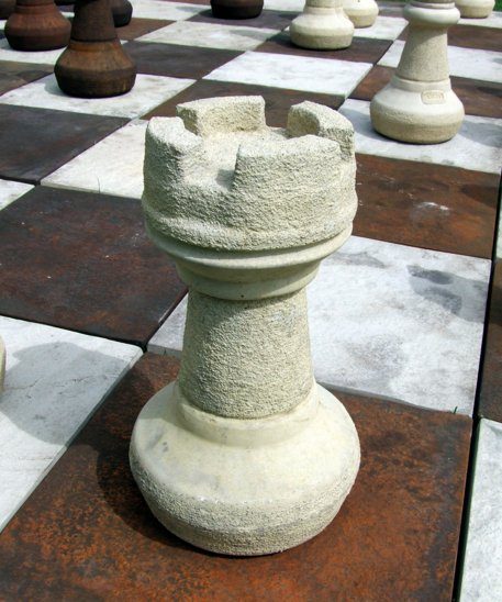 Giant Garden Chess Set with Board and Stone Pieces