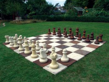 Giant Garden Chess Set with Board Stone Pieces