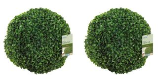 27cm Pair of Leaf Effect Artificial Topiary Balls by Gardman™