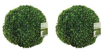 40cm Pair of Leaf Effect Artificial Topiary Balls by Gardman™