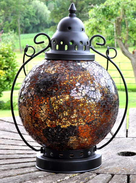 Madagasca Amber Mosaic Glass Table Lantern - 29cm