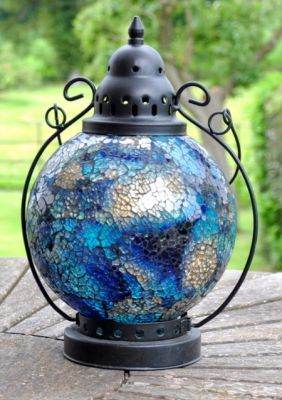 Madagasca Azul Mosaic Glass Table Lantern - 29cm