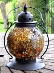 Madagasca Amber Mosaic Glass Table Lantern - 20cm