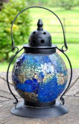 Madagasca Azul Mosaic Glass Table Lantern - 20cm