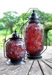 Marrakesh Red Mosaic Glass Table Lantern - 38cm