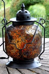 Marrakesh Amber Mosaic Glass Table Lantern - 23cm