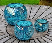 Sky Blue 16cm  Ball Mosaic Glass  Tabletop Candle Holder