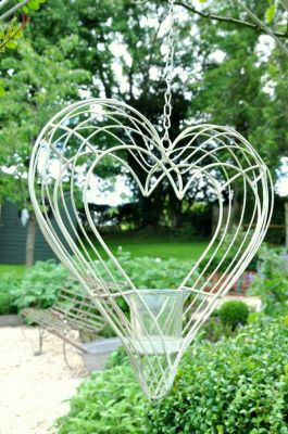 Heart  Wire Tea Light Hanging Candle Holder - 31cm