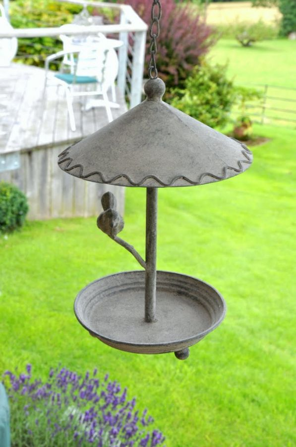 24cm Bordeaux Hanging Metal Bird Feeder