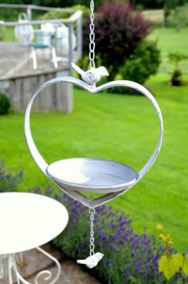 27.5cm Venice Antique White Hanging Metal Bird Feeder