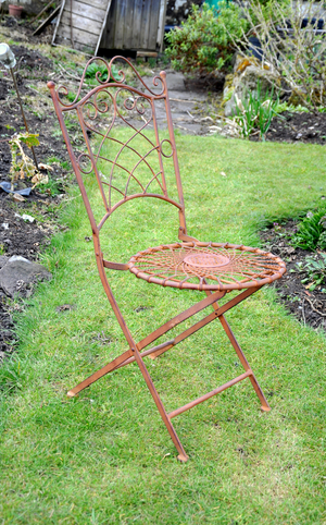 'Avocado Stone' Metal Chair in Antique Brown