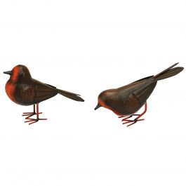 H12cm Set of 2 Metal Robin Sculptures