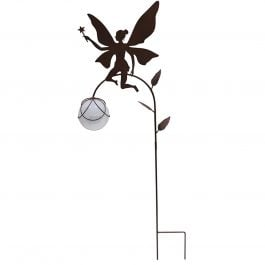 H82cm Solar Magic Metal Fairy Sillhouette Stake in Black