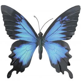 H35cm Large Metal Butterfly in Blue/Black