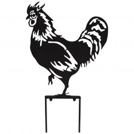H46cm Rooster Garden Silhouette with Stakes in Black