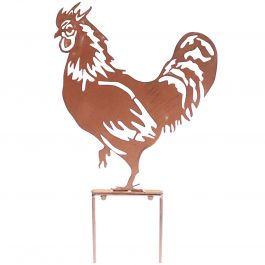 H46cm Rooster Garden Silhouette with Stakes in Rust