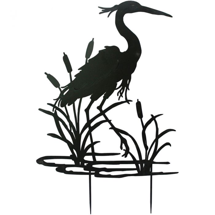 H112cm Heron Garden Silhouette with Stakes in Black
