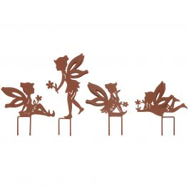 H17cm Set Of 4 Small Fairy Silhouettes with Stakes in Rust