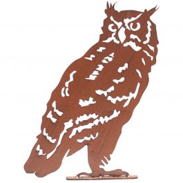 H45cm Owl Garden Silhouette with Fixing Plate in Rust