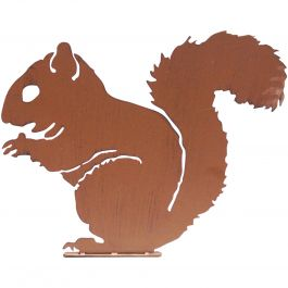 H30cm Squirrel Garden Silhouette in Rust