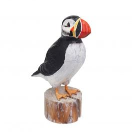 H26cm RSPB Hand Crafted Wooden Puffin Garden Ornament