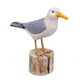 H23cm RSPB Hand Crafted Wooden Herring Gull Garden Ornament