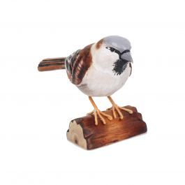 H12cm RSPB Hand Crafted Wooden House Sparrow Garden Ornament
