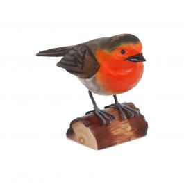 H12cm RSPB Hand Crafted Wooden Robin Garden Ornament