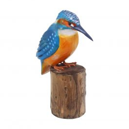 H12cm RSPB Hand Crafted Wooden Kingfisher Garden Ornament